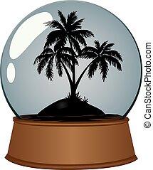 Island in glass sphere