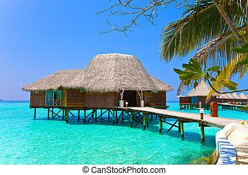Island in ocean, overwater villa. Maldives.