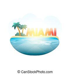 Island in sea. Miami beach with palm trees, ocean - Island ...