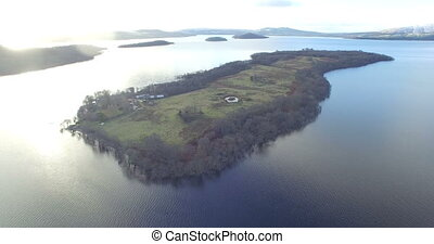 Island in the Scottish Highlands - Aerial: Island in the...