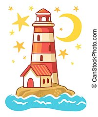 Island in the sea with a lighthouse.