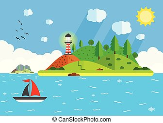 Island in the sea with lighthouse, hill, tree, and sailing ship. Summer time holiday voyage concept. Flat vector illustration. Travel background.