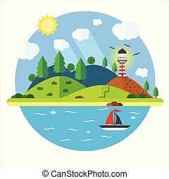 Island in the sea with lighthouse, hill, tree, mountain, fish and sailing ship. Summer time holiday voyage concept. Illustration in flat style. Travel background.