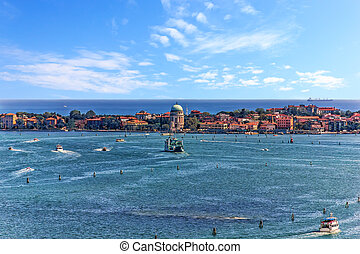 Island in the Venetian Lagoon in Venice, view from the top of Piazza San Marco