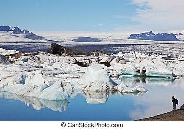 island, is-, lagun, vatnajokull, jokulsarlon