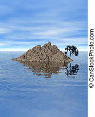 Island - island, water, tropical, sea, stone