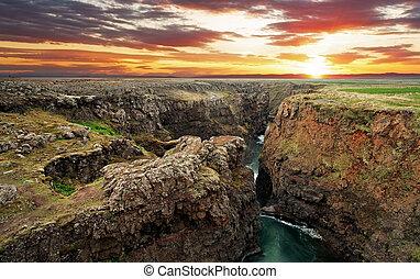 island, kanjon, -, solnedgång, kolugil