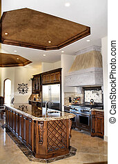 island kitchen - beautiful kitchen with large island made of...