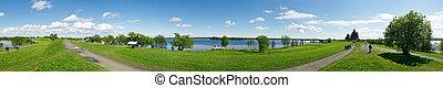 panoramic photo made on Kizhi island on a bank of Ladozhskoe lake