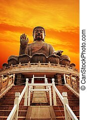 island), kong, tian, buddha, bronzeado, (hong, lantau