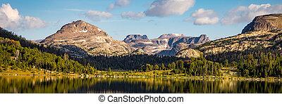 Beautiful Island Lake in the early morning light, near Beartooth Pass in Montana