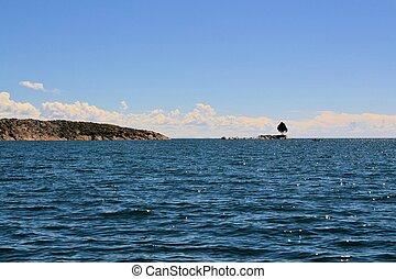 Island Lake Titicaca between Bolivia and Peru