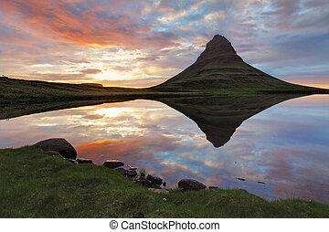 island, landschaftsbild, fruehjahr, panorama, an, sonnenuntergang