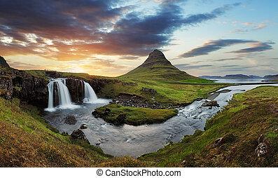 island, landschaftsbild, mit, vulkan, und, wasserfall