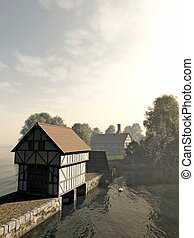 Island Manor House - Illustration of a half-timbered...