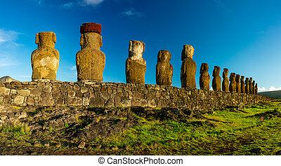 island., moai, ahu, estatuas, pascua, tongariki, vista...