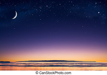 Island Moon - A crescent moon and stars over an island in ...