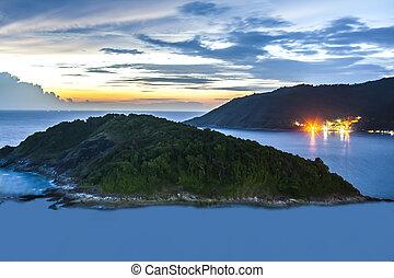 Island near Promthep Capeat night.