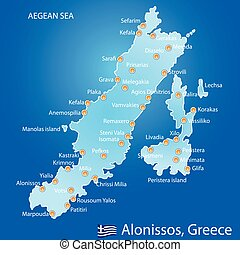 Island of Alonissos in Greece map on blue background