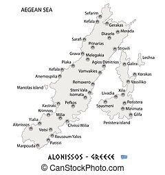 Island of alonissos in greece red map illustration in colorful.