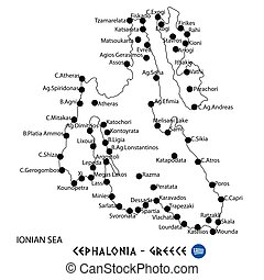 Island of Cephalonia in Greece map on white background