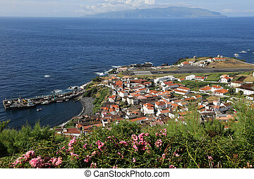 Island of Corvo in the Atlantic Ocean Azores Portugal -...