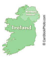 Island of Ireland. Map of Ireland. Island is divided the state border between the Republic of Ireland and Great Britain