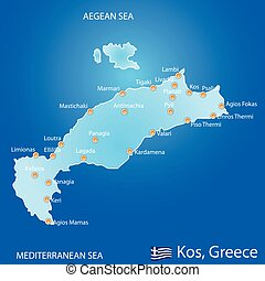 Island of Kos in Greece map on blue background