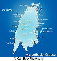 Island of Lefkada in Greece map on blue background
