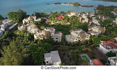 island of Mauritius, view from the drone magnificent clouds and the city.