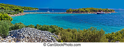 Island of Murter turquoise beach panoramic