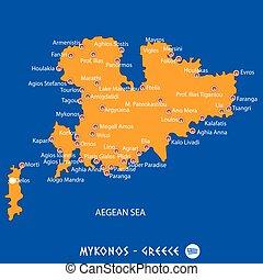Island of mykonos in Greece orange map and blue background -...