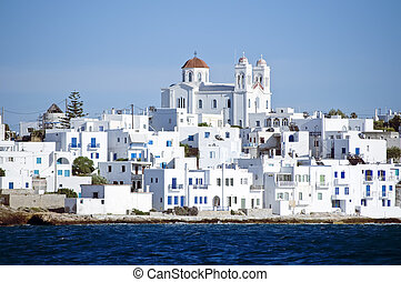 Island of Paros with the village of Naoussa