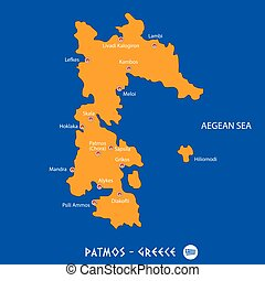 Island of patmos in Greece orange map and blue background -...