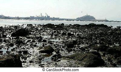 Island of Qing Dao city. Warship