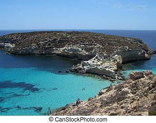 Island of rabbits. Lampedusa- Sicily