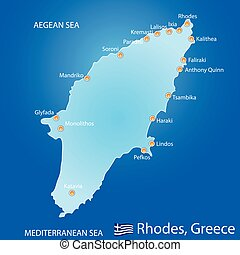 Island of Rhodes in Greece map on blue background