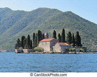 Island of St. George, one of two islet landmarks on Kotor Bay in Perast, Montenegro