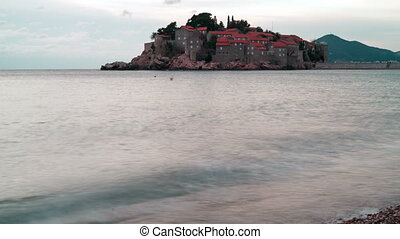 Island of Sveti Stefan in overcast