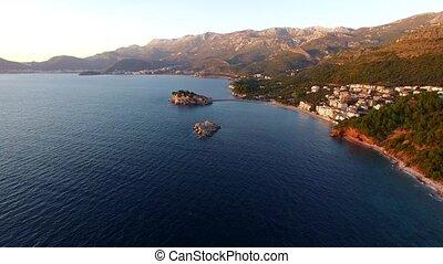 Island of Sveti Stefan, view from the beach of Crvena Glavica
