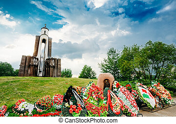 Island of Tears - Island of Courage and Sorrow, Ostrov Slyoz - a memorial dedicated to the Belarusian soldiers-internationalists who died in Afghanistan in 1979-1989 on June 2, 2014 in Minsk, Belarus. In the war involved more than 30,000 Belarusians of them killed 789 people, missing 12 people, 718 ...