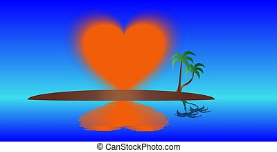 Island of the ascending heart. - The sun in the shape of the...