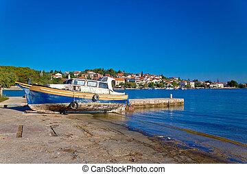 Island of Ugljan old boat by the sea
