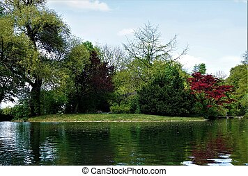 Island on a lake in the English Garden in Munich
