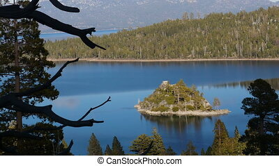 Island on the Lake Tahoe, California, USA