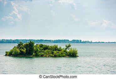 island on the lake zemplinska sirava. beautiful landscape of...