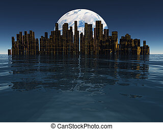 Island or floating city with planet or moon visible beyond