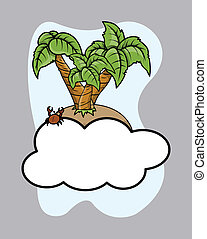 Island Over Cloud - Vector