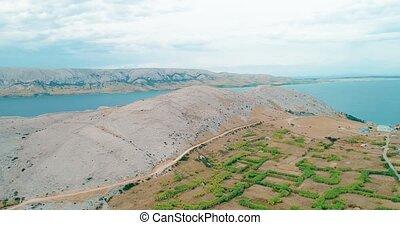 Island Pag landscape, Croatia - Island Pag landscape aerial...