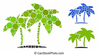 Island palms Mosaic Icon of Circles